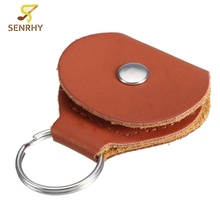Leather Key Chain Style Guitar Bass Picks Holder Guitarra Picks Plectrums Case Bag Musical Instruments Guitars Parts Accessories