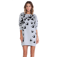 Sweatshirt Dress Tumblr Women 2017 Spring Casual Long Sleeve Cotton Swallow Bird Print Long Sleeve Grey Dresses for Women XS-XXL(China)