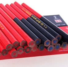 Hexagonal Red Blue Combination Pencil Mark Drawing Carpenter Pencils Crayons triangulaire double Rouge/Bleu