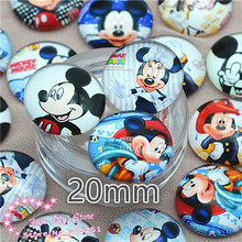 Glass mix image Cabochon Round 20mm Minnie Handmade Cartoon Photo Glass Dome jewelry findings,free shipping