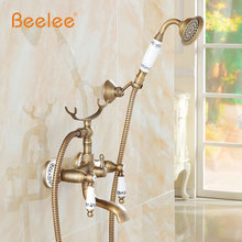 Classic Antique Style Bathroom Bath & shower Faucets Pattern Ceramic Handheld Shower Headwall mounted Mixer Tap Free Shipping(China)