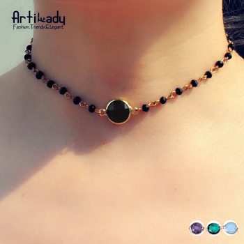 Artilady multicolor beads choker necklace fashion gold plated choker necklace for women jewelry party gift