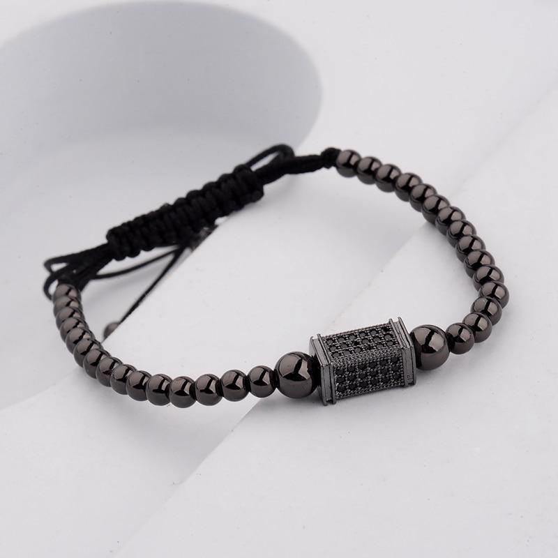 DOUVEI 17 New Black Diy Design Pave CZ Ball Charm Bracelet Men Women Braided Macrame Copper Beads Jewelry Gift For Men Women 12