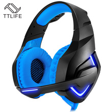 TTLIFE Gaming Headset Comfortable Headband Stereo Bass Headphones HiFi Over Ear With Mic Volume Control LED Light For Computer