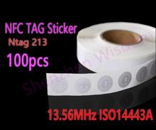 100pcs NFC Tags 13.56MHz ISO14443A NFC Sticker 25mm Ntag213 RFID NFC tag Stickers For All NFC Phone(China)