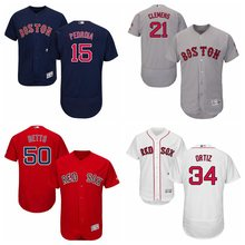 Men's Boston Red Sox Roger Clemens David Ortiz Retirement Patch Mookie Betts Dustin Pedroia Alternate Flex Base Jersey 4 colors(China)