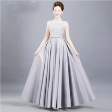lady long formal o neck dress gray dinner womens elegant evening pageant gowns sexy formal women party dresses gown H3612