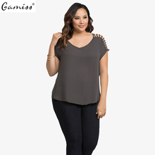 Gamiss New Summer Women Sweetheart Neck Cap Sleeves Hollowed-Out Design Plus Size Casual Blouse Top
