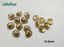 Wholesale 100pcs pack 12.5mm metal alloy sewing buttons Hollow designdecorative gold button free shipping 2016101805