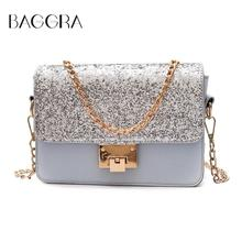 Baggra Shoulder Women Leather Small Chains Bags Hot Ladies Flap Bags Fashion Famous Designer Brand Classic Shiny Party Handbag(China)