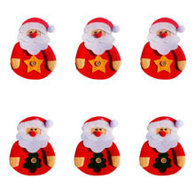 1PC Santa Claus Red Cutlery Bag Christmas Present Gift Candy Sack Holder Xmas Party Decoration Random Style Promotion