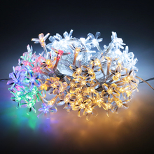 Bright 2M/3M Cherry Blossoms Peach Flower LED String Fairy Light Garland Christmas Outdoor Garden Decoration