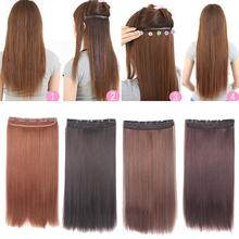 1PC Clip In Manmade Hair Extensions Synthetic Women Hairpiece Straight Long Hair Styling Tool RP1