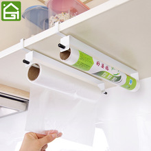 Kitchen Food Wrap Paper Towel Hanging Holder Cupboard Door Tissue Wiping Paper Organier Wash Cloth Storage Hanger Shelf
