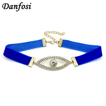 Danfosi 2017 New Eyes Rhinestones Choker Women Fashion Blue Ribbon Chokers Necklaces Simple Design Collar Maxi Necklace Bijoux