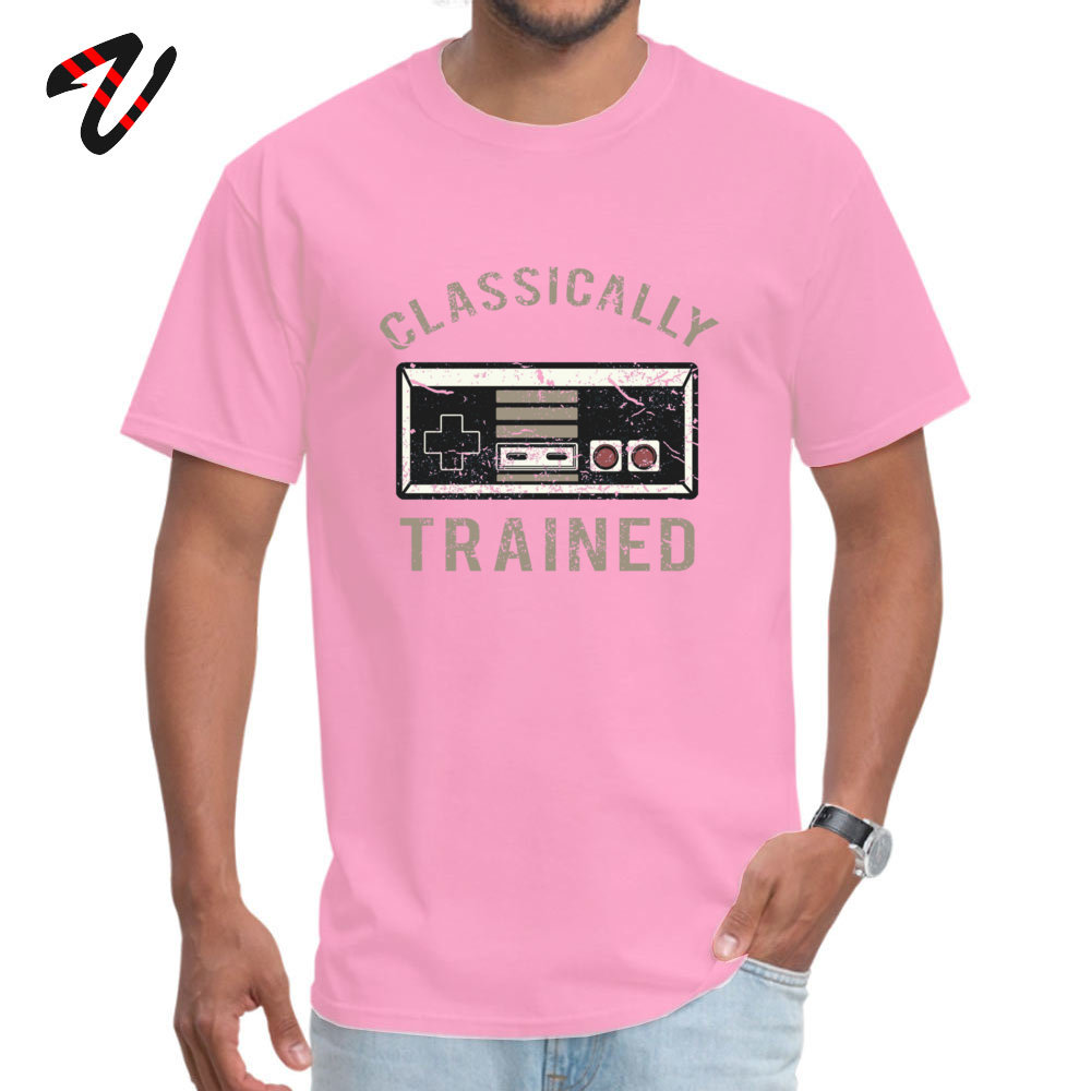 Gamer Trained 100% Cotton Men's Short Sleeve Tops T Shirt Fitness Tight Summer/Fall T-Shirt Casual Tops T Shirt Family O-Neck Gamer Trained 13417 pink