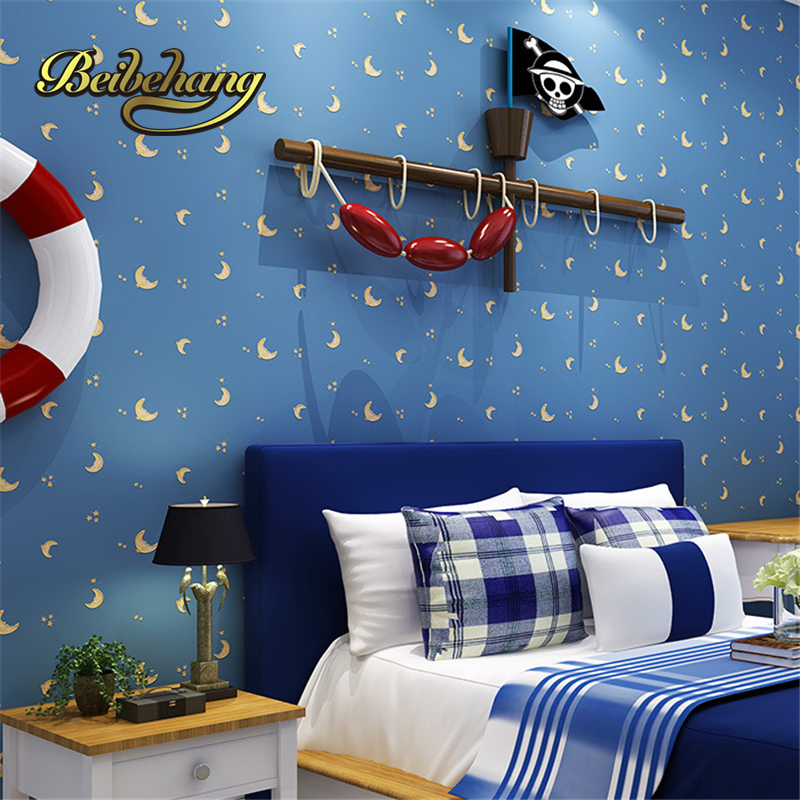 beibehang Non-woven wallpaper factory direct green childrens room boy girl bedroom room cartoon moon star papel de parede<br>