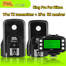 Pixel King Pro 2.4G Wireless TTL Flash Trigger 1xTransmitter+2xTransceivers Set For Nikon D7100 D810 D5100 D3300 D650 D90 Camera(China)