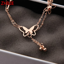 Hot butterfly bell anklets simple and elegant temperament girls anklet manufacturers wholesale Ankle Jewelry Beach Jewelry