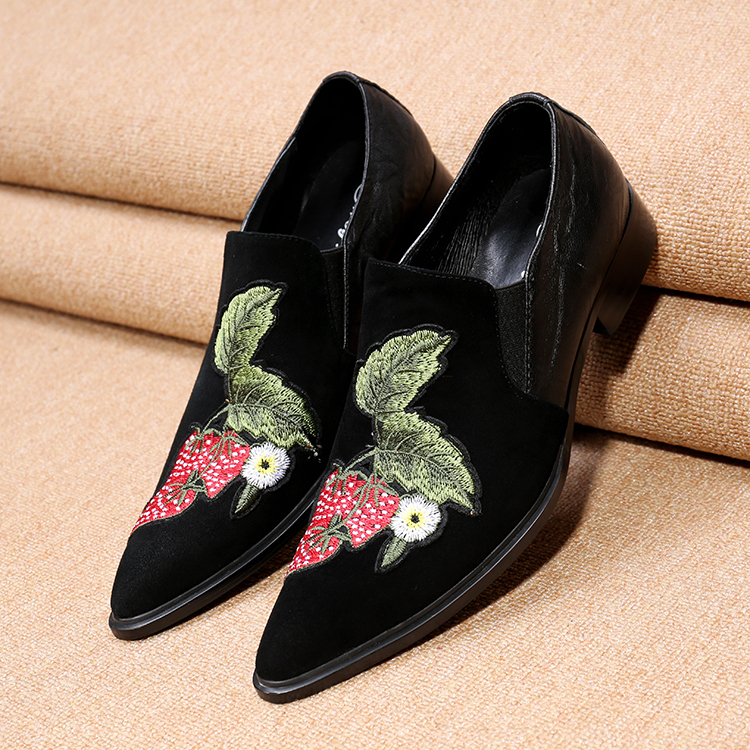 2017 New Style Hot Men black Shoes Fashion Men Loafers Luxury Embroidery suede Slippers Mens wedding Dress Shoes Plus Size 46<br><br>Aliexpress