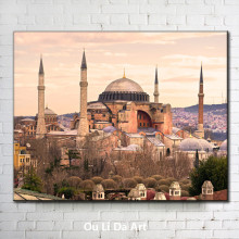 Turkey blue mosque landscape canvas printings oil painting printed on canvas home wall art decoration pictures