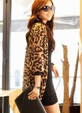2015 Sexy Outer Wear Slim Cardigan Air Conditioning Sun Protection Tunic Leopard Print Cape Chiffon Blouse Lady Tops Shawl