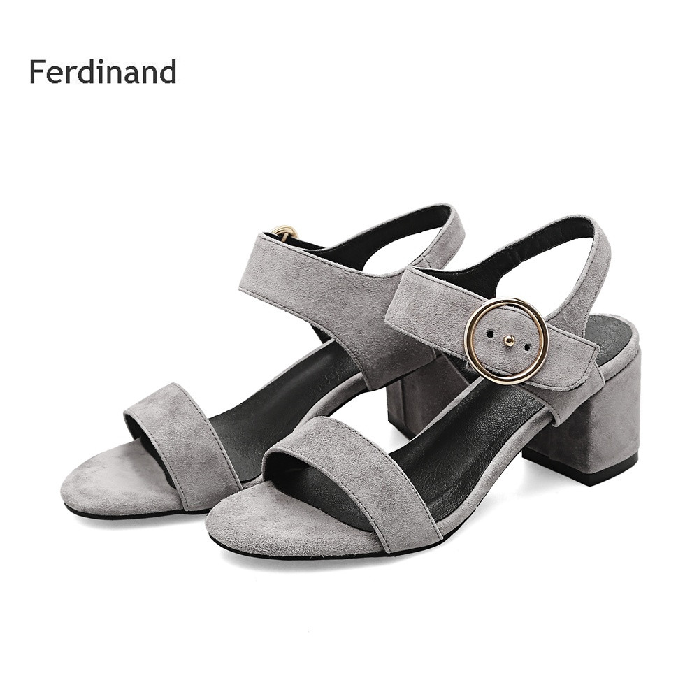 Women Genuine leather sandals Soild color Peep toe Buckle Gary Black High heel shoes Summer Casual shoes Sheepskin size4~10<br>