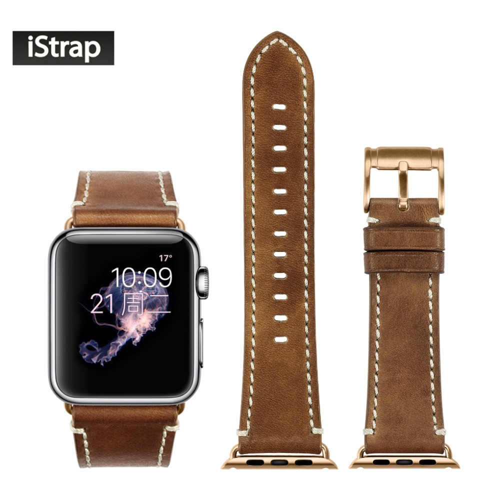 iStrap Brown Strap For Apple Watch Sport 42mm Soft Genuine Leather Watch Band Rose Gold Buckle Adapter For iWatch Series 1 and 2<br>