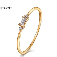 STARYEE Certified VS H 0.08CT Emerald Cut Natural Diamond Engagement Ring Bands Women 18Kt 750 Yellow Gold Aniversary Jewelry