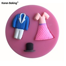 Cute Dress Shaped Cake Decorating Mold Tools Chocolate Candy Jello 3D Mold Mould Cartoon Figure/cake Tools C137