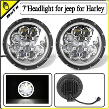 "7"" Round 75W Hi/Low Beam Motorcycle LED Headlight Bulb DRL for jeep Wrangler Hummer for Harley"