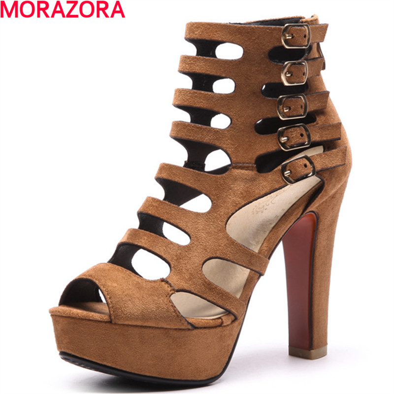 MORAZORA 2018  new summer party peep toe women ankle boots unique buckle comfortable boots big size 34-43<br>