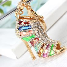 M Shoe High Heel Multicolour Charm Pendant Crystal Purse Bag Keyring Key Chain Women Jewelry Birthday Party Gift