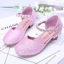 HaoChengJiaDe Girls Sandals Kids Crystal Shoes Dream High Heels Students Dance Party Shoes Children Leather Fashion Bow Princess