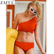ZAFUL New Style One Shoulder Design Scalloped Bikinis Women Wave Edge Swimwear Swimsuit Biquinis Bathing Suits maillot de bain