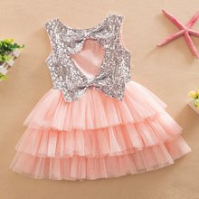 Baby Girl Summer Layered Tutu Dress Kids Sleeveless Hollow Out Back Bow Sequined Dresses Children Clothing