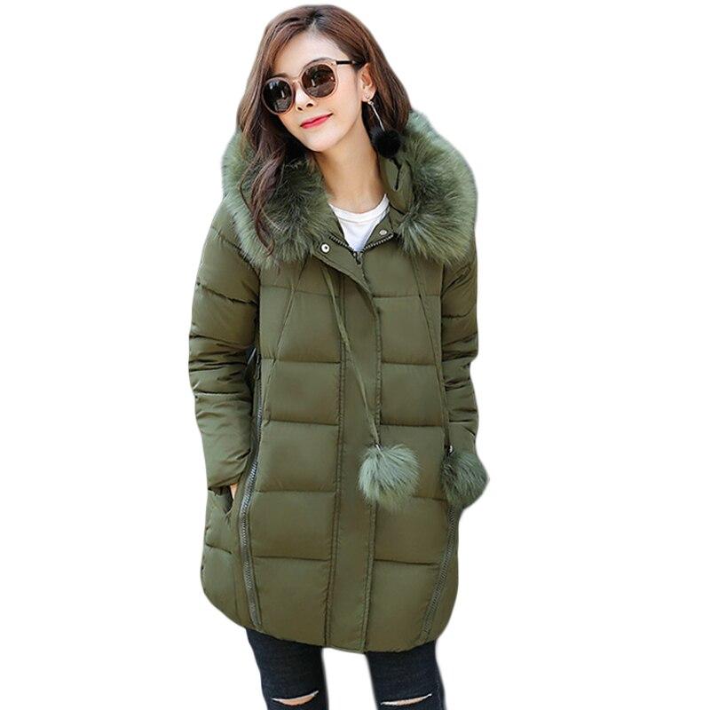 Winter Jacket Women New 2017 Long Cotton-padded Hooded Jacket Parka Female A-line Wadded Jacket Outwear Winter Coat Women CM1629Îäåæäà è àêñåññóàðû<br><br>