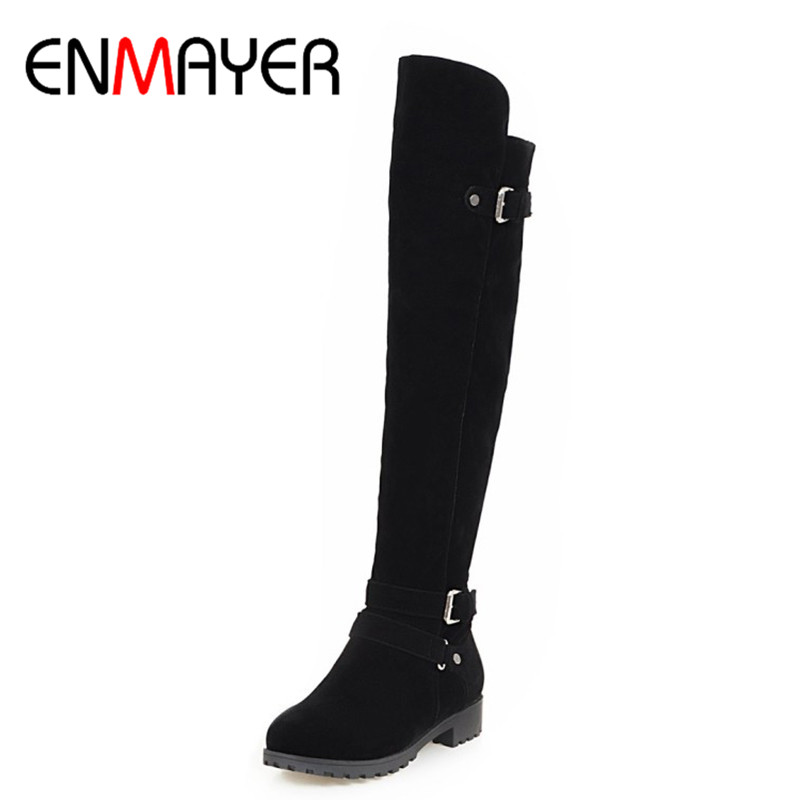 ENMAYER Buckle Strap Shoes Woman Flats Winter Boots Plus Size 34-43 Knee-high Boots Black Brown Long Boots Shoes Riding RoundToe<br>