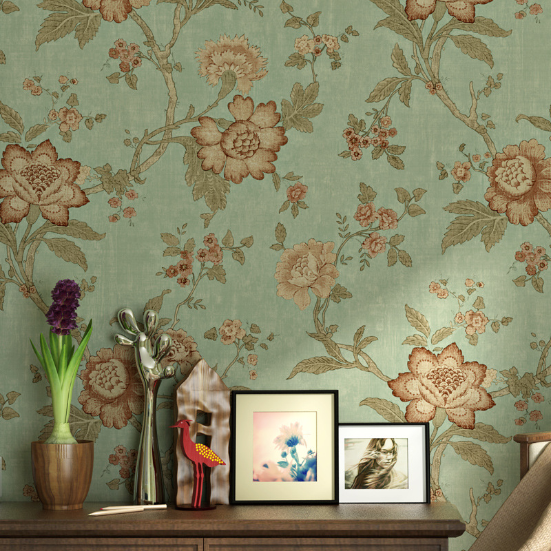Wholesale Rural Big Flower Wallpaper American Vintage Countryside Wall paper Non-woven Bedroom Living Room Sofa TV Backdrop <br>