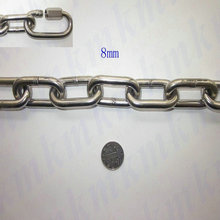 304T stainless steel 8MM lifting long link chain with good welding and polishing heavy load marine grade(China)