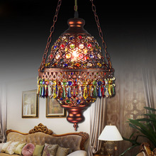 Bohemia Mediterranean Amorous Feeling Dining-Room Lamp E14 Base Porch Desk Lamp Through-Carved 7 Colour Crystal Pendant Light