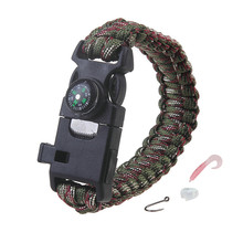 Self rescue Paracord Parachute Cord Bracelets Blade whistle and Flint compass Survival For Men Women Field Accessories