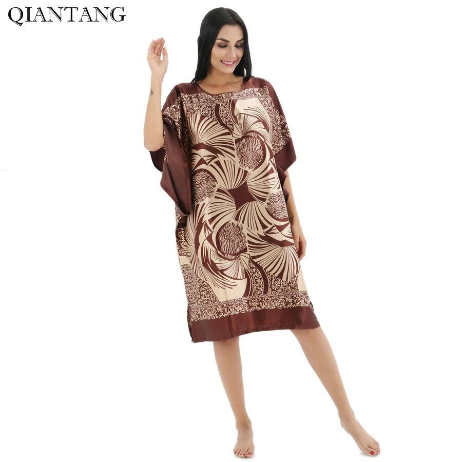 Plus Size Fashion Female Robe Bath Gown Printed Design Blue Women's Faux Silk Nightdress Summer Nightgown Pijama Muje TB12A