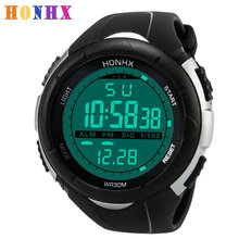 HONHX Luxury Men Relogio Masculino Analog Digital Military Army Sport LED Candy colored Retro Design Waterproof Wrist Watch(China)