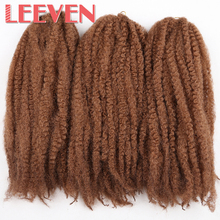 Leeven 18'' 100g 20strands synthetic braiding hair Afro Kinky Twist Crochet Braid DIY Hair Extension High Temperature Fiber(China)