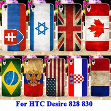 Hard Plastic Cell Phone Cases For HTC Desire 828 830 Housing Cover UK Mexico Russia Brazil National Flag Painted Shell Skin Hood
