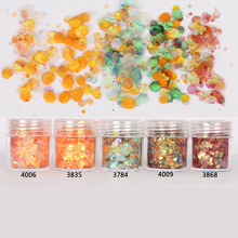 10ml/Box Glitter Tips Orange Red 1mm & 2mm & 3mm Mixed Powder Nail Decoration