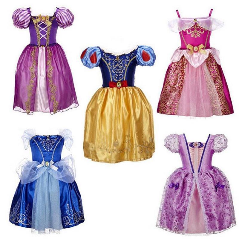 2017 Baby Girls Cinderella Dresses Children Snow White Princess Dresses Rapunzel Aurora Kids Party Costume Clothes Free Shipping<br><br>Aliexpress