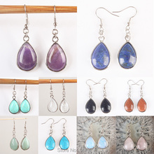 Exquisite Amethyst Lapis lazuli Turquoise Rose Quartz Opal Clear Quartz Drop Hook Dangle Earrings 1Pair