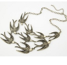 XL094 2014 New Factory Price Vintage Jewelry Ten Swallow Pendant Hot Necklace &pendant(China)